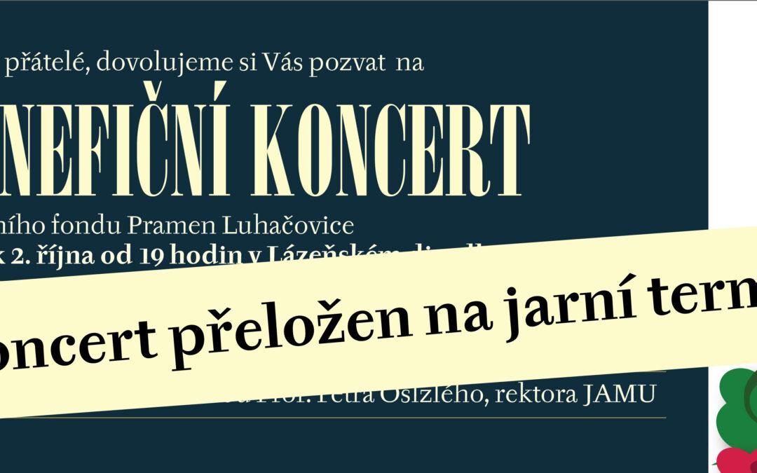 Říjnový benefiční koncert přeložen na jaro